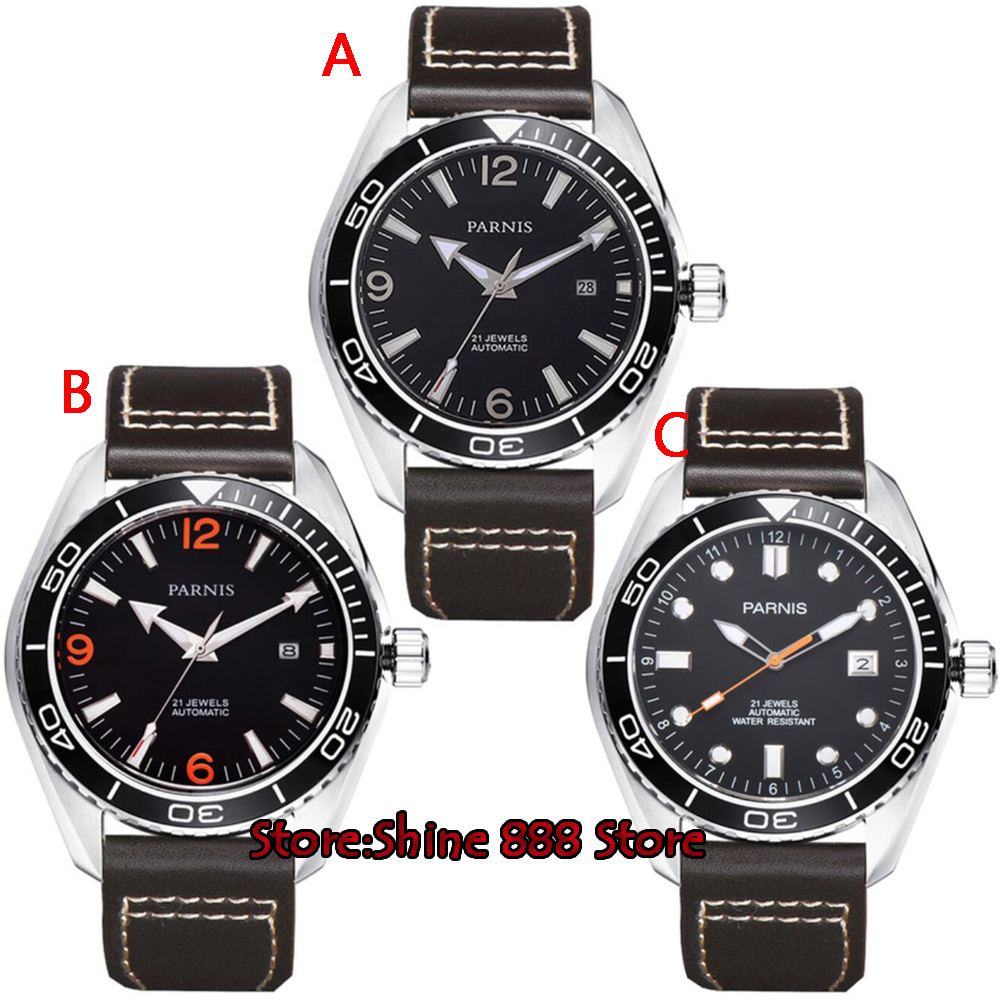 45mm Parnis Waterproof Diver Automatic Watch Mechanical Watches Ceramic Rotatig Bezel 5ATM Sapphire Wrist Watch Men