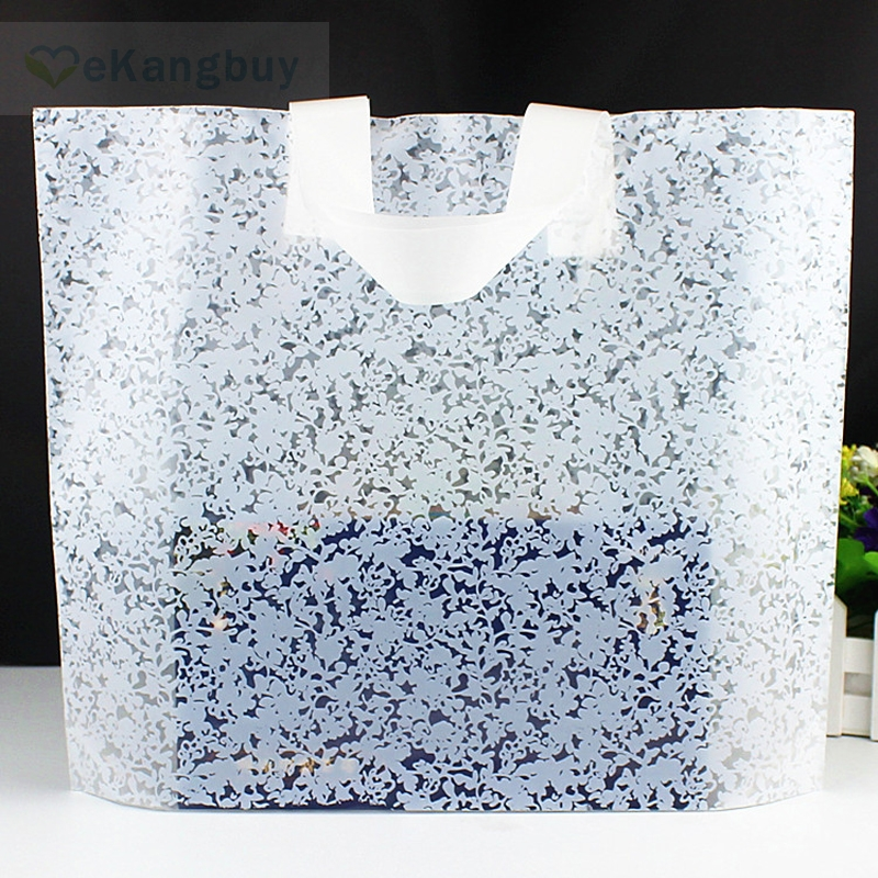 50pcs White Floral Gift Bag Thicken Plastic Carry Bag Shopping Bag