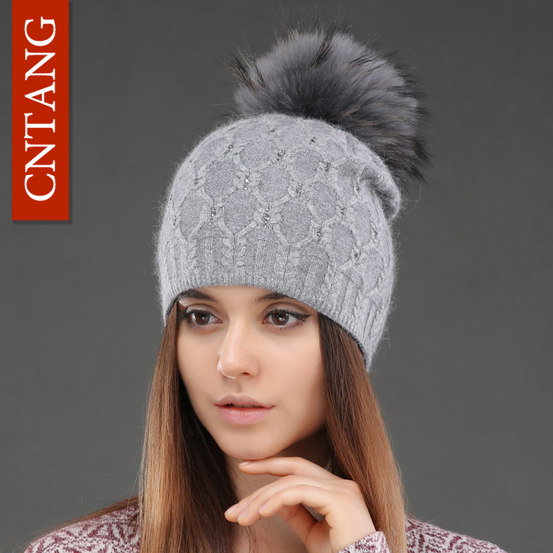 Double Deck Knitted Wool With Crystal Hats Female Big Real Raccoon Fur Cap Beanies Winter Warm Fashion Pom Poms Hat For Women(China)