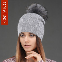 fa9b12c781ca5 Double Deck Knitted Wool With Crystal Hats Female Big Real Raccoon Fur Cap  Beanies Winter Warm
