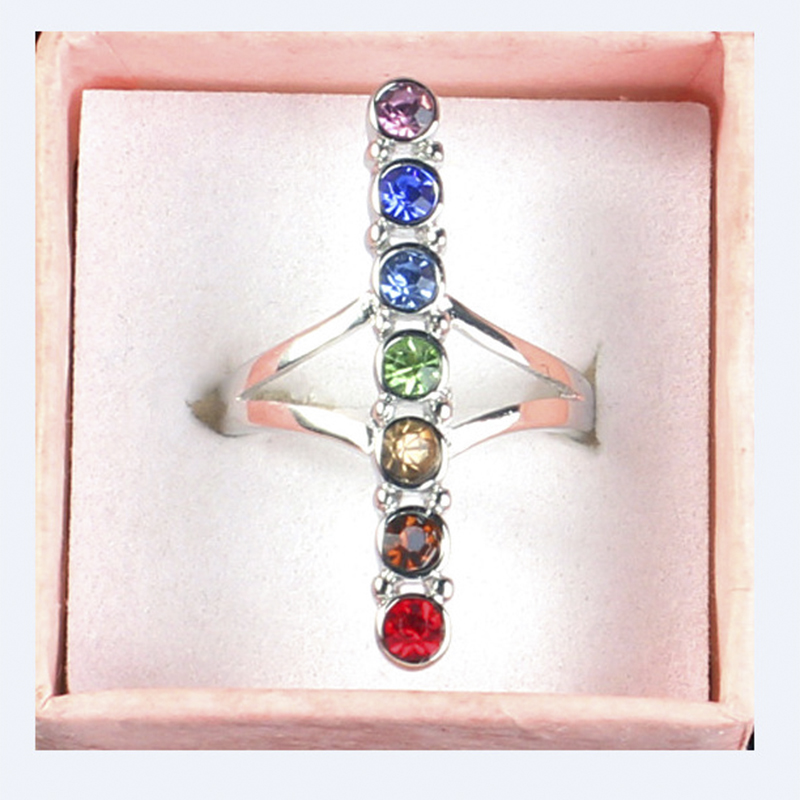 7 Chakra Point Healing Gem Stone Crystal Cross Balancing Meditation Finger Ring Energy F ...