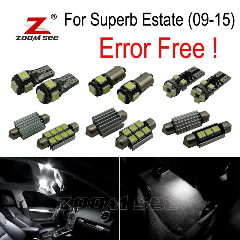 22 pz LED Lampada Interna Luce Kit + luci Della Targa di immatricolazione per Skoda Superb MK 2 MKII Immobiliare 3T5 (2009-2015)