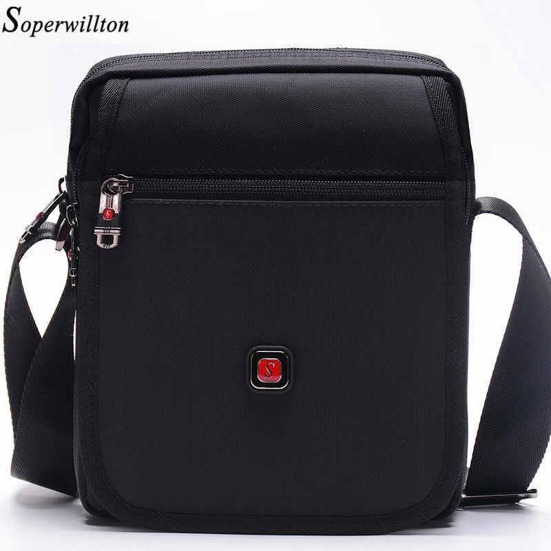 4fc3dd69992b Бренд soperwillton мужская сумка раскладушка откидной крышкой сумки через  плечо Wateproof черный Оксфорд 1680D молния сумка