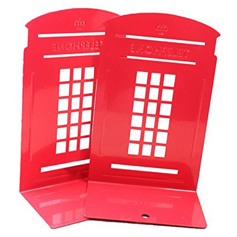 1 Pair London Telephone Booth Anti-Skid Metal Bookends Vintage Book Shelf Holder Stationery Stand (Red/Blue )