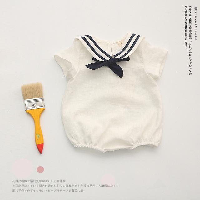 Estilo marinero algodón bebes bebé ropa del bebé del mameluco de la muchacha mono body kids para regalo De Navidad ropa del bebé para el recién nacido