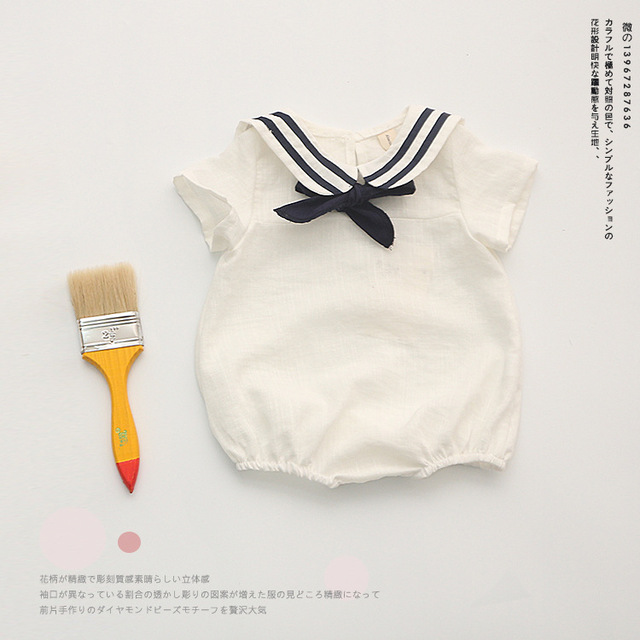 Sailor style cotton bebes baby romper girl baby boy clothes jumpsuit body kids for Christmas gift baby clothing set for newborn