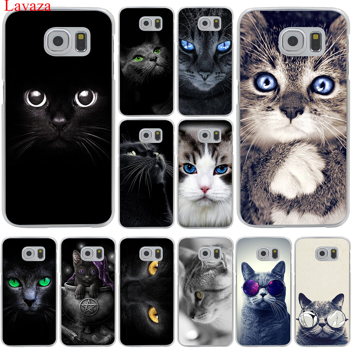 Lavaza Black Cat Staring Eyes Hard Transparent Phone <font><b>Case</b></font> for Samsung Galaxy S10 E S10E S8 S9 Plus S6 S7 Edge Cover image