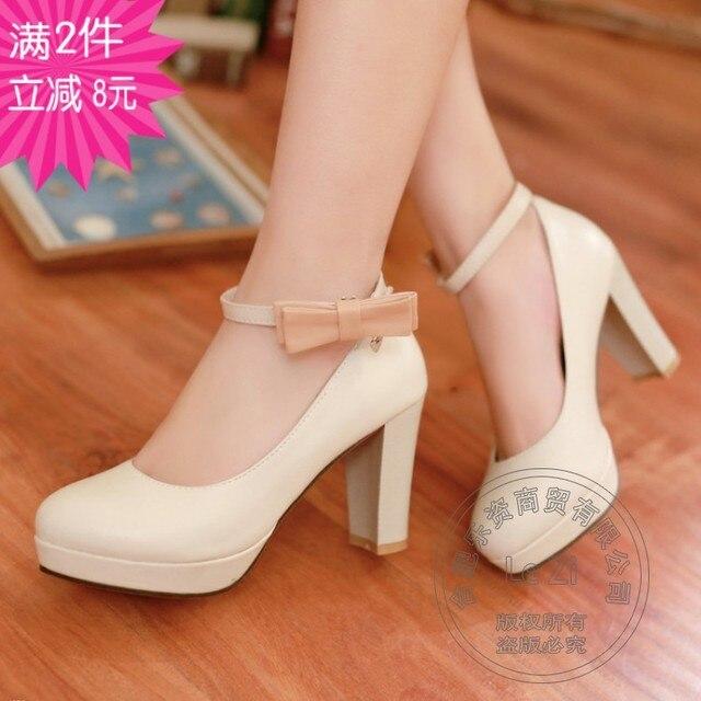 Woman Shoes In Small Sizes For Women High Heels Platform Lolita Mori Girl Mary Jane Teenage Girls Sweet Bowknot Cute Temperament