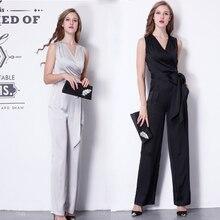 Новые модные летние OL формальные комбинезоны с v-образным вырезом для женщин шелковые элегантные повседневные длинные брюки прямые брюки S-XL