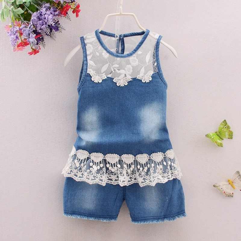 Baby Girls Summer Fashion Flower Lace Toddler Denim Clothing Suit Sleeveless Jeans Tops + Shorts Clothes Set summer women fashion high waist embroidery flower denim tassel jeans shorts female floral shorts jeans for women dx8299