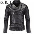 Q.E.J 2016 Hitz foreign trade men's PU leather motorcycle leather casual wave of Korean version of Slim short paragraph