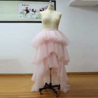 2017 Trendy Pink Long Tulle Skirts Personalized Tiered Tulle Maxi Skirts Womens High End Tutu Skirt