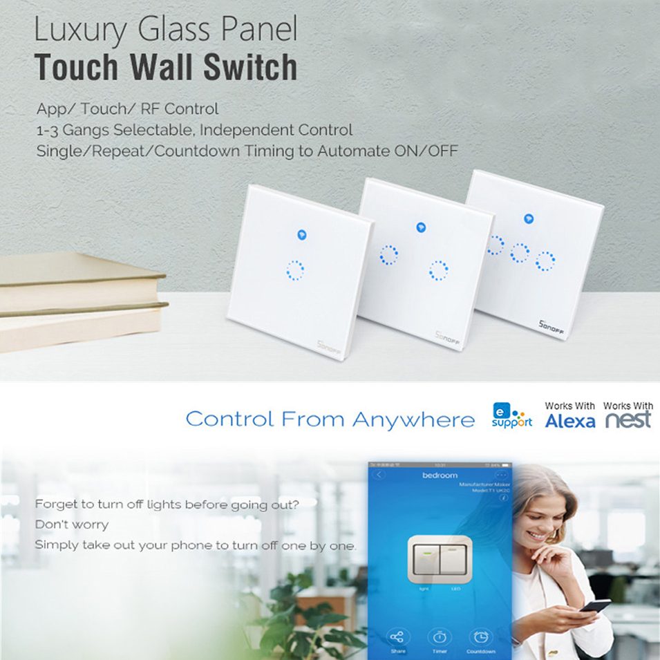 Sonoff T1 EU UK Panel WiFi RF 433/ APP / Touch Control Wireless Light Switch 1 2 3 Gang 1 Way Wall Touch Glass Switch Smart Home eu uk standard 1 2 3 gang 2 way remote control light switch glass panel lamp switch for rf smart home touch wall light switch