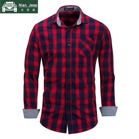 Brand Hot Sell 2018 Summer New Casual Dress Shirt Men Long Sleeve Fashion Plaid Denim Shirt 100% Pure Cotton Brand Clothes FM158 Pakistan