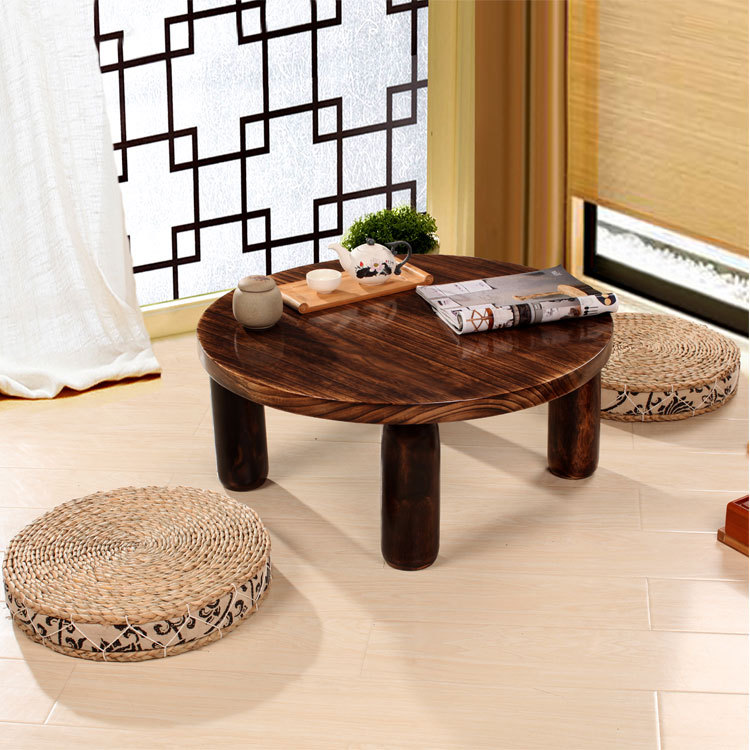 Anese Antique Small Round Table 60cm Paulownia Wood Traditional Asian Furniture Living Room Low Floor Coffee