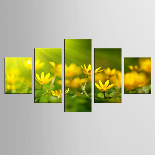 5 Panel Yellow Flower Canvas Fresco Art Home Decoration Living Room Canvas  Printing Modern Painting XL