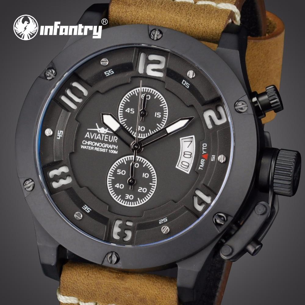 Пехота Для мужчин s часы лучший бренд класса люкс военные часы Для мужчин Водонепроницаемый Авиатор Пилот кожа часы для Для мужчин Relogio Masculino