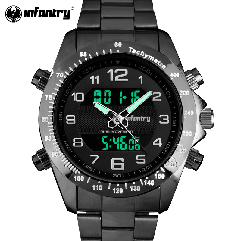 INFANTRY Men Quartz Watches Military Alarm Digital Watches Sports Top Brand Luxury Full Steel Clock 2017 Relogio Masculino