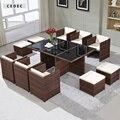 """70.8 """" досуг сад плетеная из ротанга столовая стул стороны для патио сидения, Комплект из 11 / белый / темно-серый ротанга"""