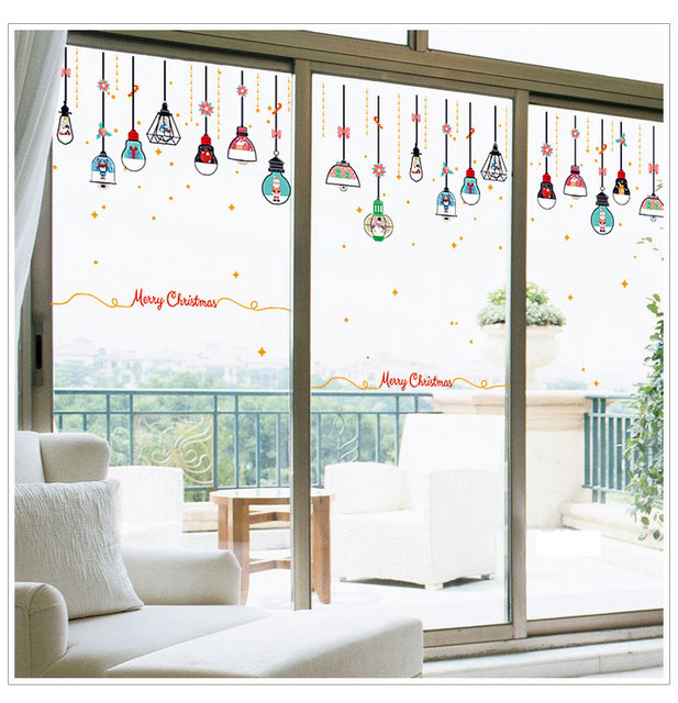 Christmas Chandelier Wall Stickers Window Glass Door Diy Flowers Home Decor New Year