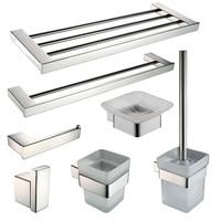Bathroom Sus 304 Stainless Steel Light Bathroom Hardware Set Hanging 7 Items Drawing Customization Bathroom Accessory Set
