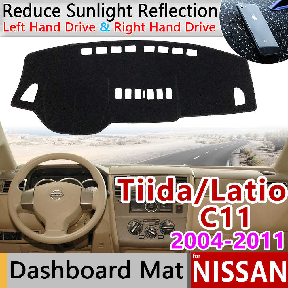 닛산 tiida c11 2004 ~ 2011 anti-slip 매트 대시 보드 커버 패드 sunshade dashmat 액세서리 tiida latio versa trazo sedan 2006