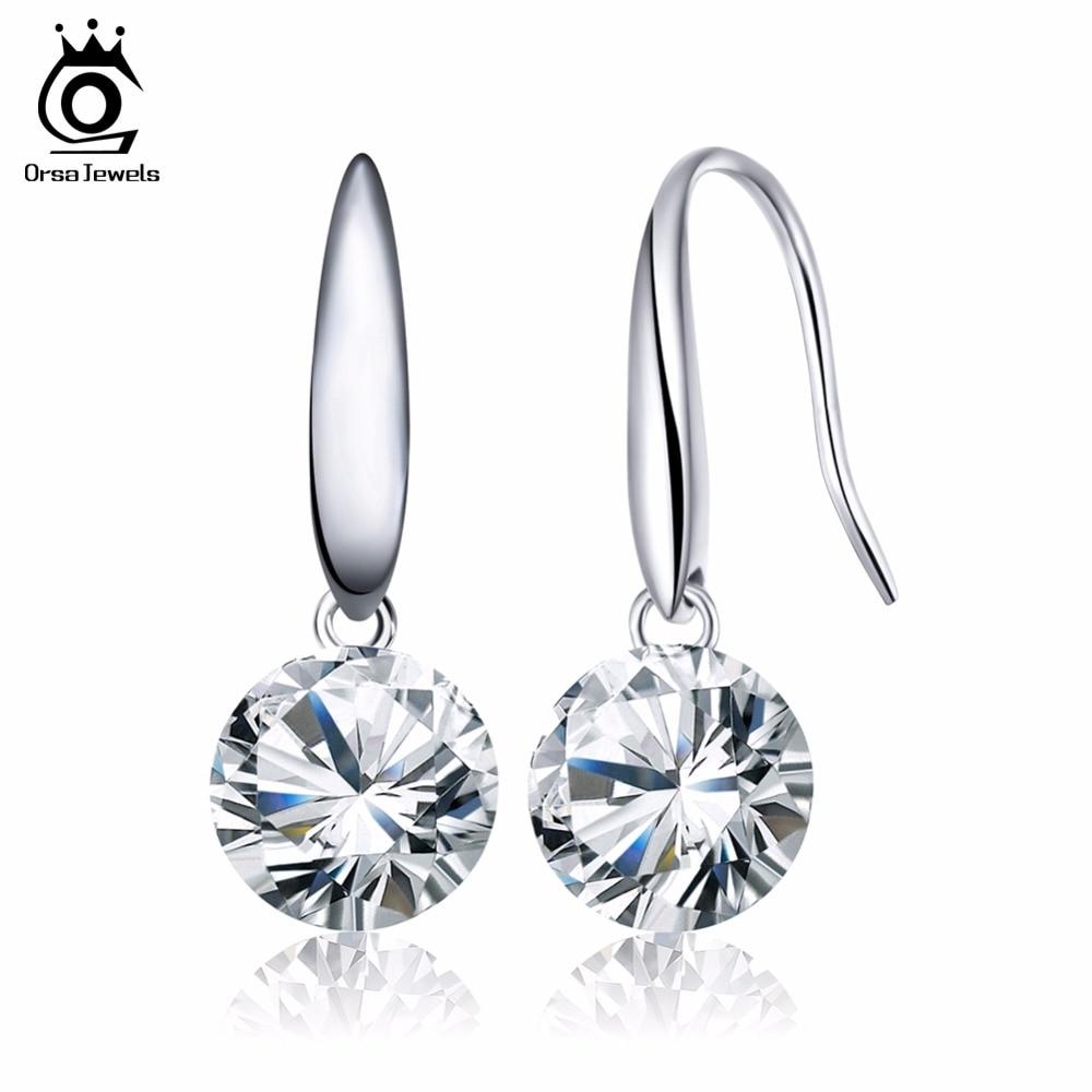 ORSA JEWELS Shining Naked Drill Earring Genuine Austria Cubic Zircon Very Beautiful Earring for Women OE05