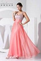 Цвет на заказ 2018 Длинные линии невесты Ruched платья из бисера из шифона без рукавов нарядные платья для свадьбы Пром платье Vestidos
