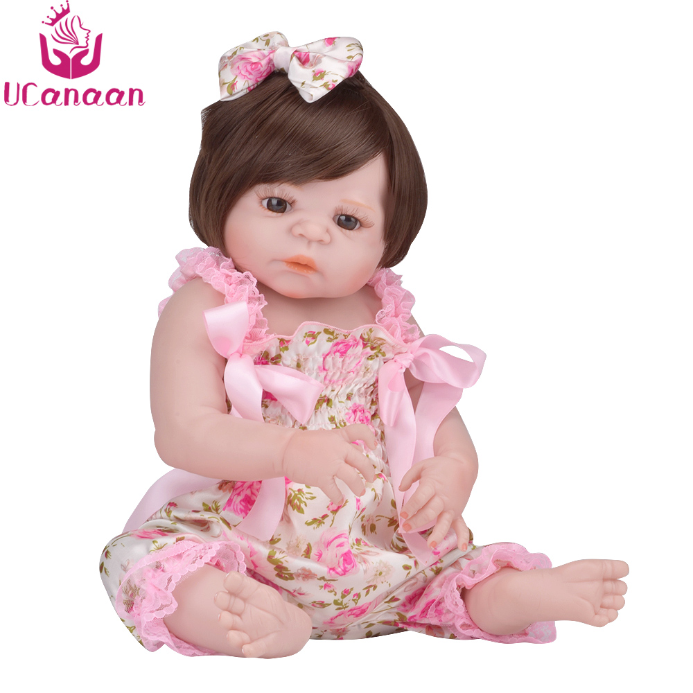 UCanaan Silicone Reborn Doll 55CM Brown Eyes Long Hair Dolls For Girls Baby Born Alive Kawaii Toys For Children Birthday Gifts little cute flocking doll toys kawaii mini cats decoration toys for girls little exquisite dolls best christmas gifts for girls