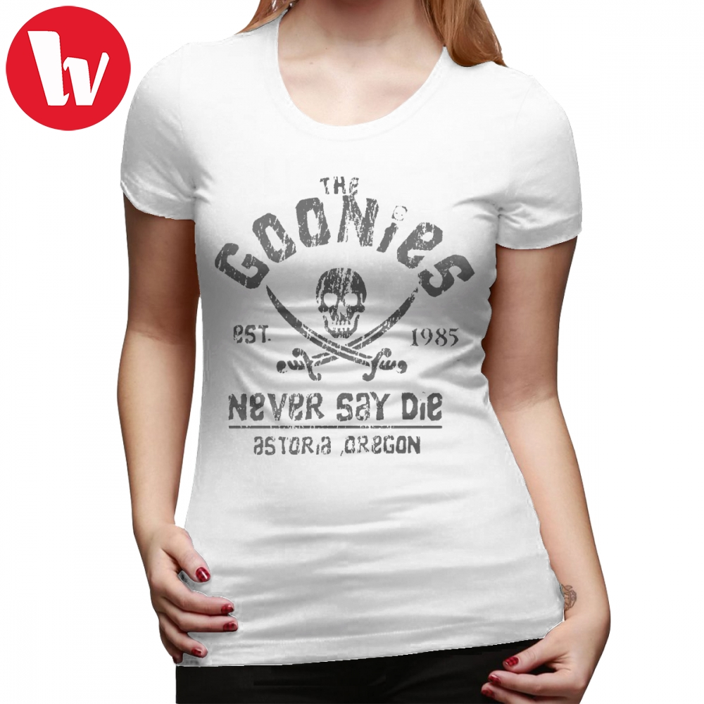 Movie T-Shirt The Goonies Never Say Die Grey On Black T Shirt 100 Cotton Large Women tshirt White Print O Neck Ladies Tee Shirt image