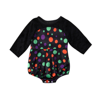 Newborn Baby Girl Polka Dot Hollow Out Bodysuit Babies Tulle Long Sleeve Playsuit Outfit Set 0-18M Clothes