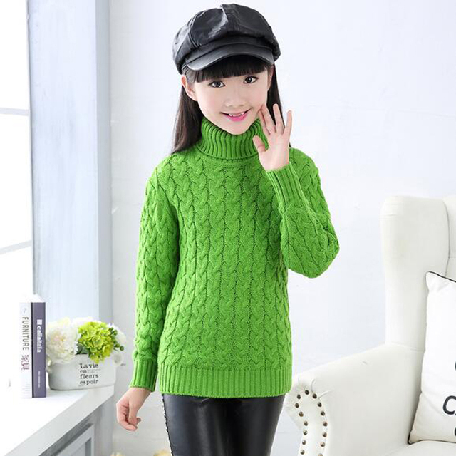 a60df368dfba Teenager Girls Print Wool Sweaters Children Clothing Girl High ...