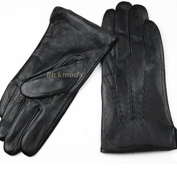 Leather Gloves Male Sheepskin Straight Button Style Thin Velvet Lining Warm Fall Winter Men's leather split 2018 Free Shipping
