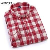 AOWOFS 격자 무늬 셔츠 남성 레드 버팔로 체크 셔츠 남성 2018 봄 패션 린넨 스타일 100% 면 긴 소매 캐주얼 셔츠 3xl