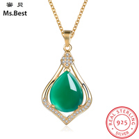 Ms.Best 14k Yellow Gold Statement Necklace Pendant For Women Green Color Natural Gem Stone Chalcedony Diamond Accent Jewellery