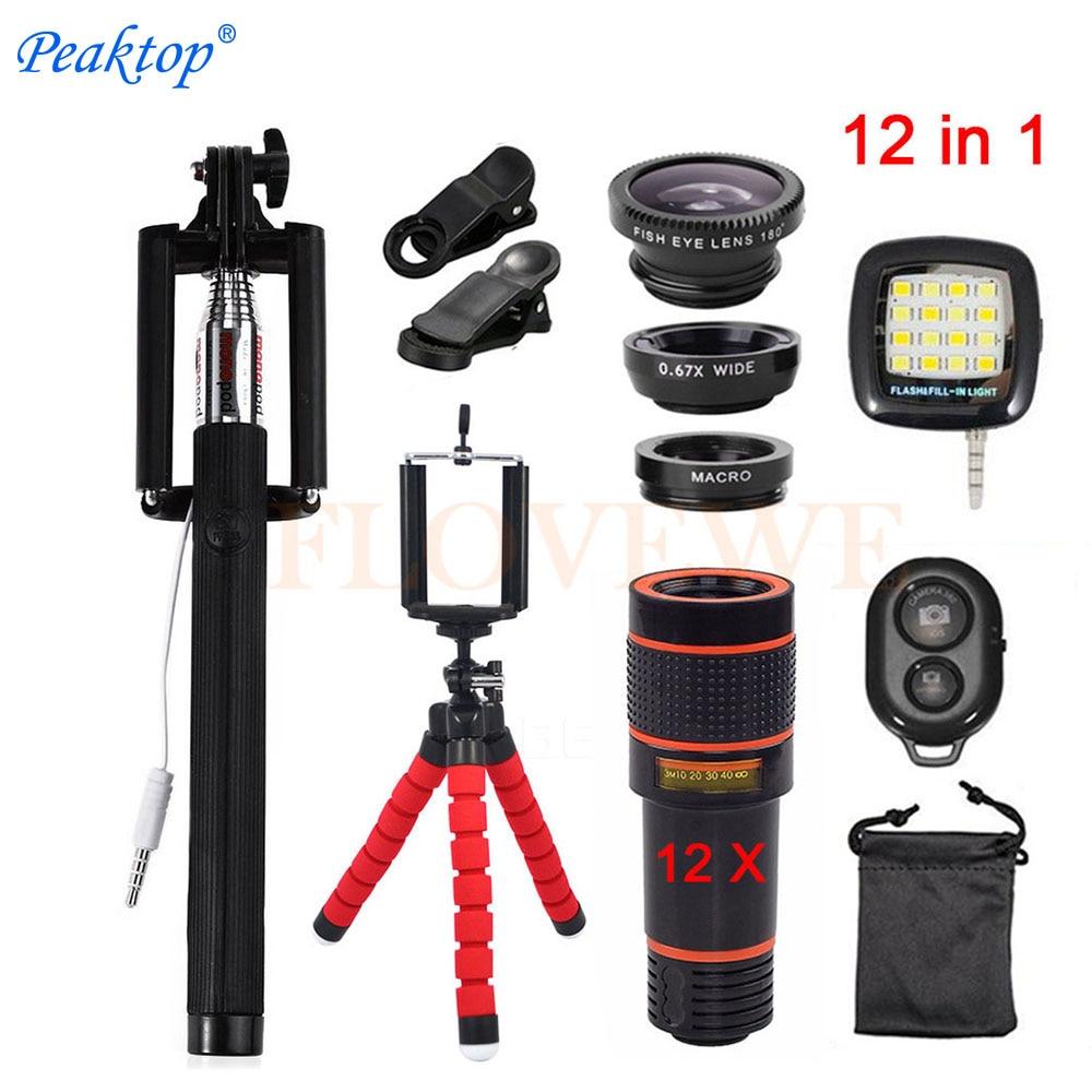 Con Pinze 12in1 Kit 12x Zoom Teleobiettivo Lenti Lentes 3in1 Fish eye Fisheye Lens Wide Angle Macro Per Il Telefono Cellulare mobile Treppiede