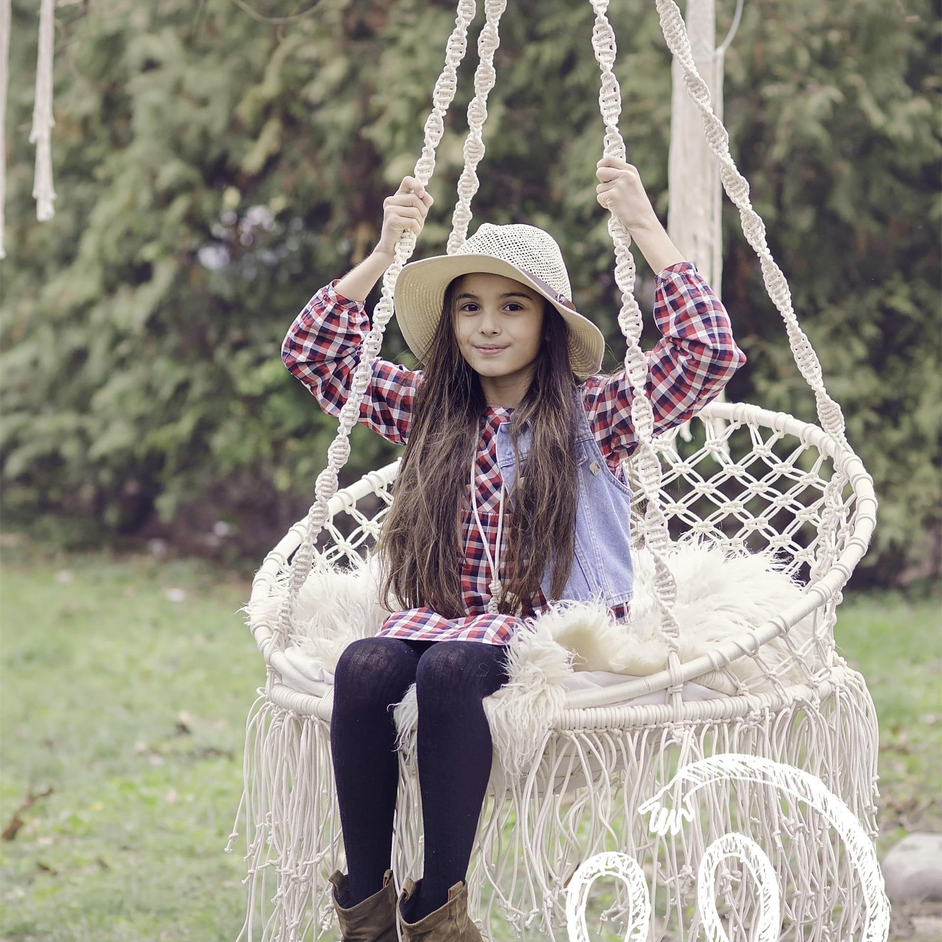 Balançoire chaise suspendue balcon extérieur dortoir hamac enfants loisirs d'intérieur tissé enfants meubles