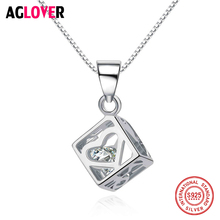 AGLOVER Necklace 2018 Short 925 Silver Chain Crystal Choker Necklaces & Pendants Women Trendy Square Pendant Fashion Female Gift aglover necklace 2018 short 925 silver chain crystal choker necklaces