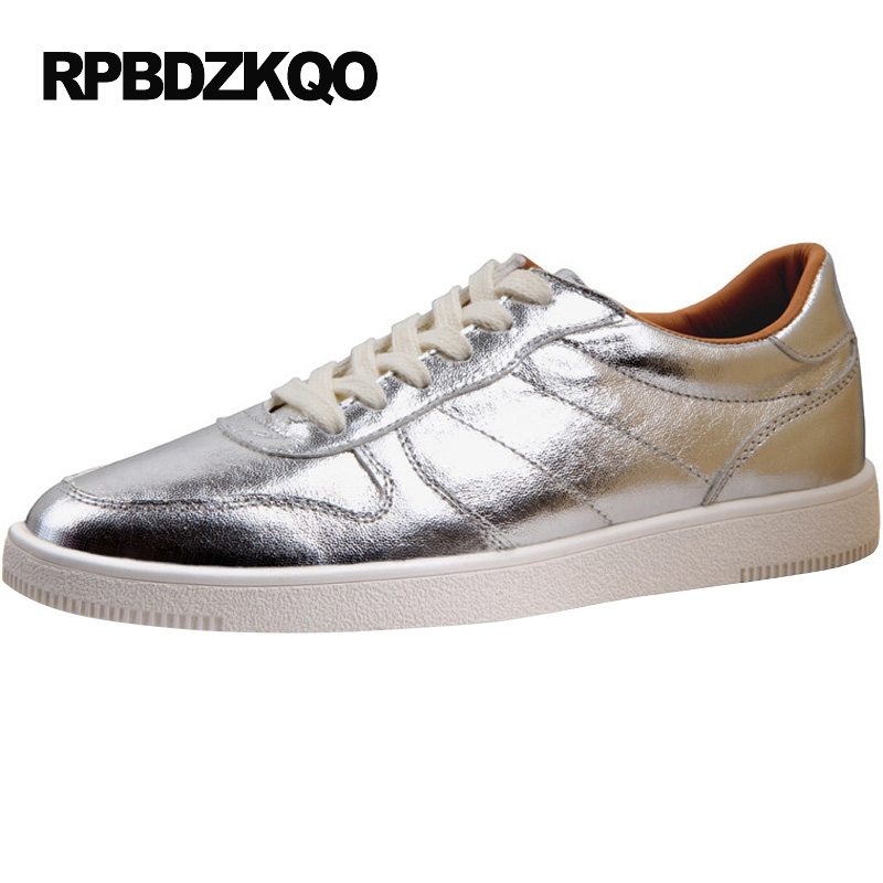 European British Style Casual Hip Hop Club Lace Up Skate Black 2017 Fashion Shoes Silver Men Platform Comfort Stylish Popular valstone 2018 men leather casual shoes hip hop gold fashion sneakers silver microfiber high tops male vulcanized shoes sizes 46