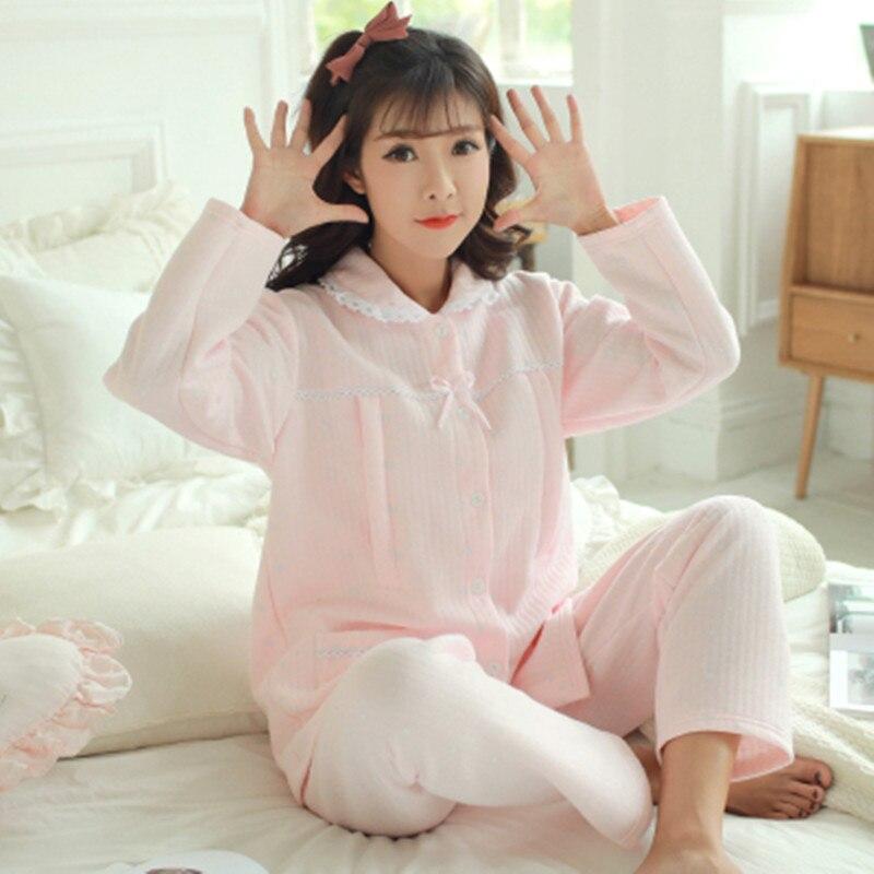 Autumn winter air blanket Pajamas Feeding Home Furnishing Maternal Lactation Month Long Sleeved Suit Maternity Sleepwear