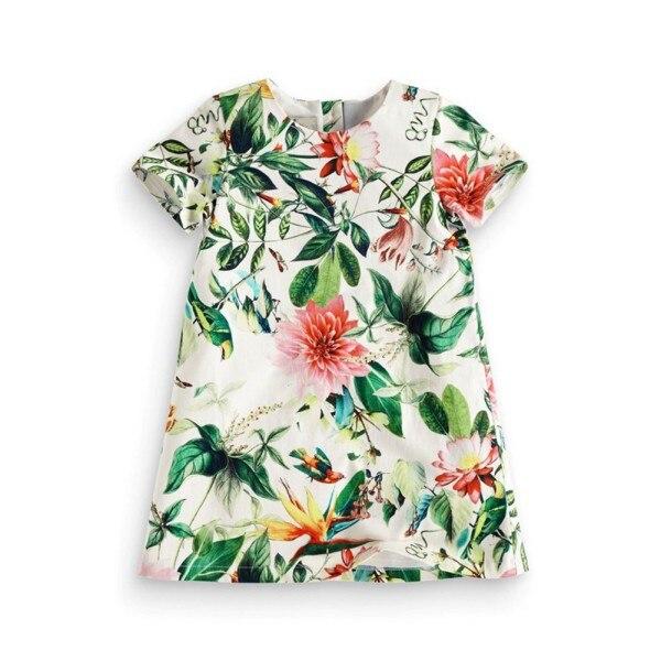 Summer Kids Girls Flower Floral Print Princess Dress Toddler Baby Cloth Infants Short Sleeve Dress