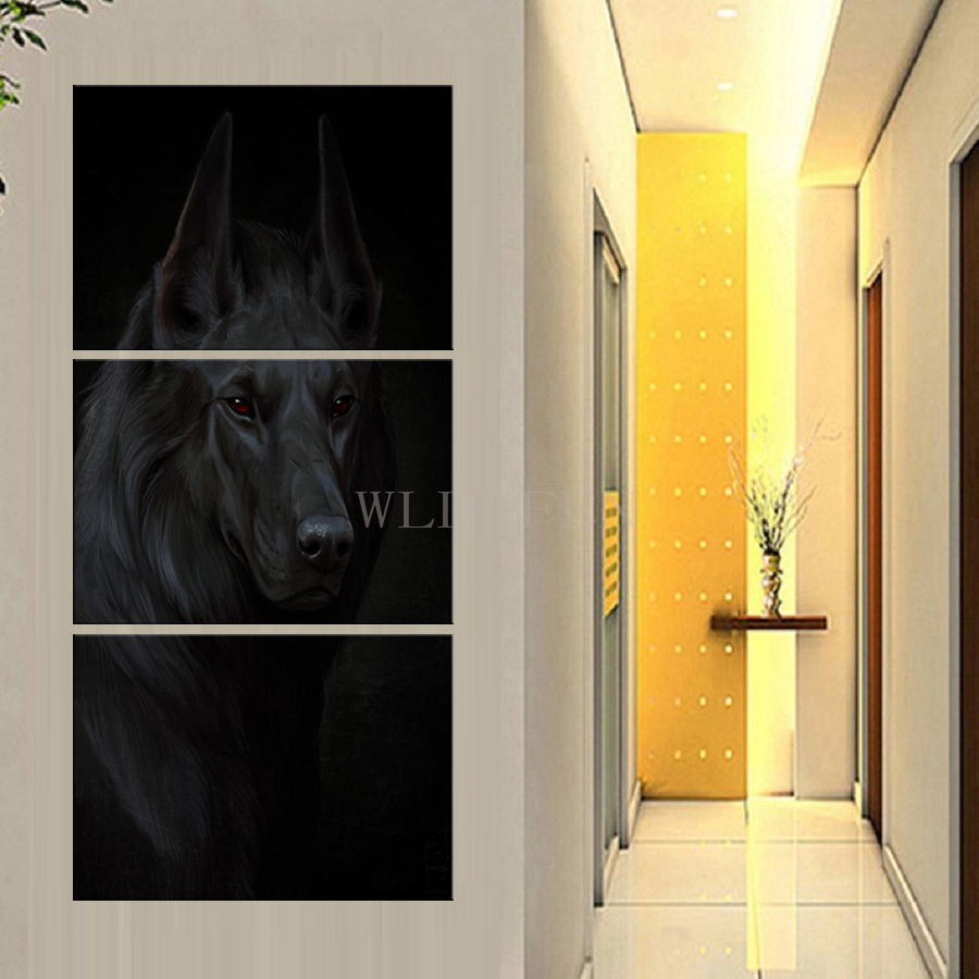 Decoration Tableau Peinture Hd Print 3 Piece Canvas Art Famous Black Dog Home Decoration Wall Pictures Tableau Peinture Sur Toile Modern Abstrait In Painting Calligraphy From