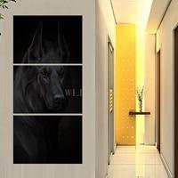 HD print 3 stuk canvas art Beroemde zwarte hond Woondecoratie Muur Foto tableau peinture sur toile moderne abstrait