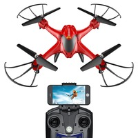 EU USA Stock Holy Stone HS200 Red RC Drone FPV HD Wifi Camera Live Altitude Hold Gravity Sensor Headless Mode RTF Helicopter
