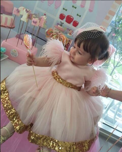 a55f3df404e78 Glitter pink tulle golden sequins little princess infant first birthday  dress ball gown girl kid tea party dresses with bow
