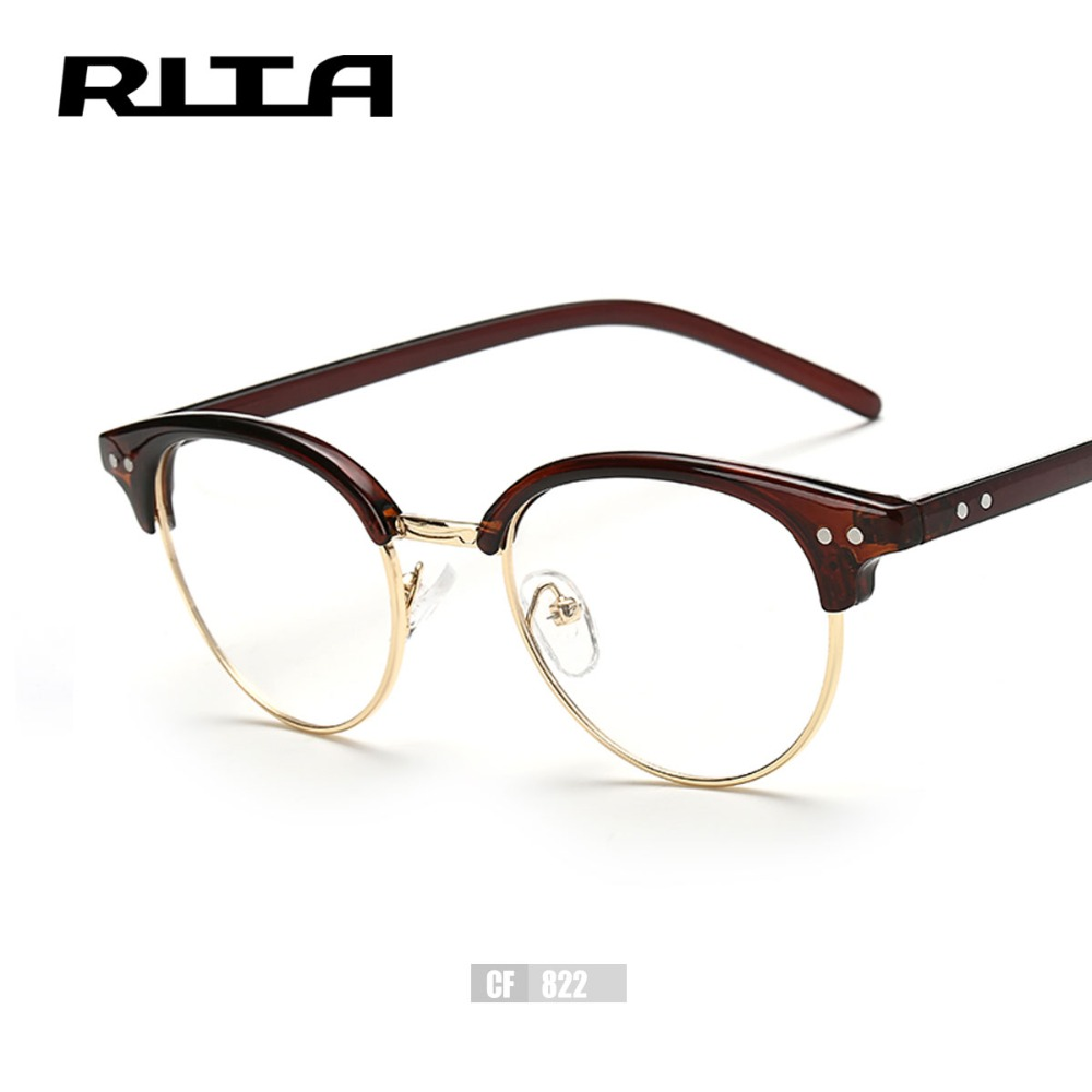 rita men fashion round optical frames eyeglasses cf822 vogue women eyeglasses frame myopia rivet frame oculos