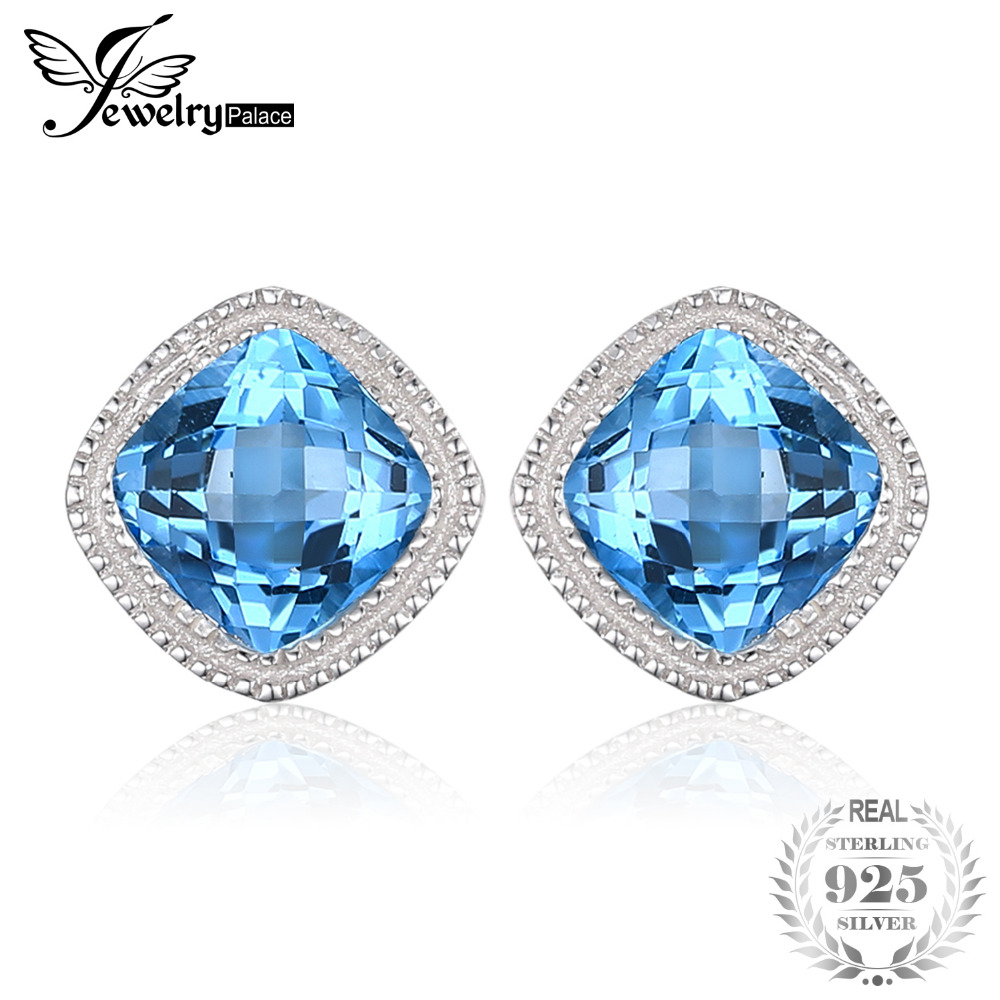 цена на JewelryPalace Vintage 1.43ct Square Natural Blue Topaz Stud Earrings 100% 925 Sterling Silver Fashion Wedding Jewelry For Women