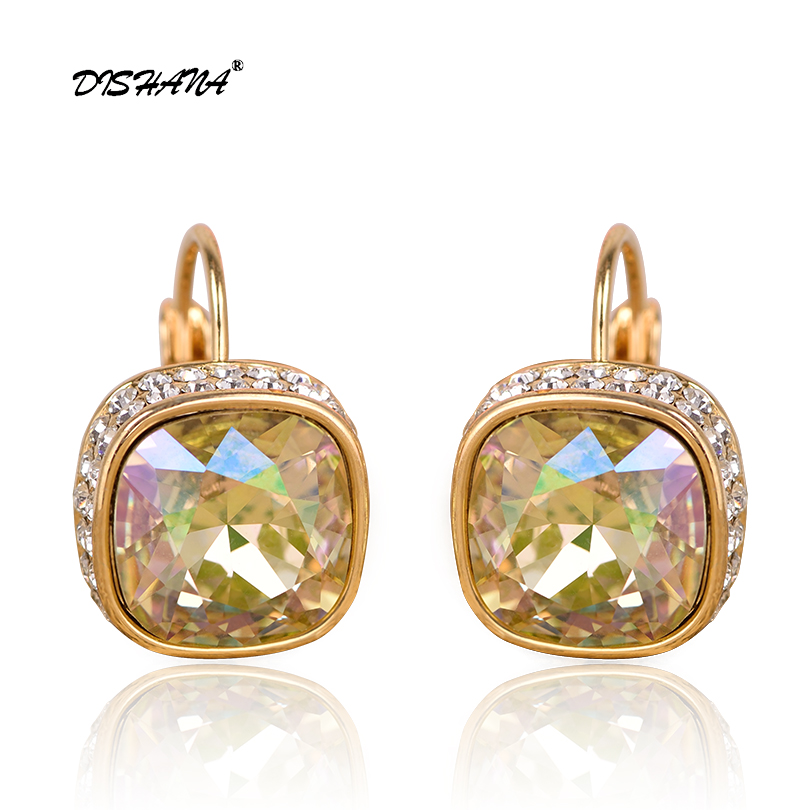 New Fashion Statement bijoux 5 Color Vintage Punk Silver Color Crystal drop Earrings for Women Wedding Love Earring E0176-1