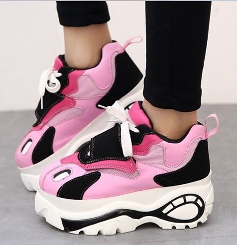 45212dbc3737 LY2249 Size 35-39 Japanese Harajuku Style Women Retro Trifle Platform  Partchwork Candy Color Big Head Shoes Students Sneakers