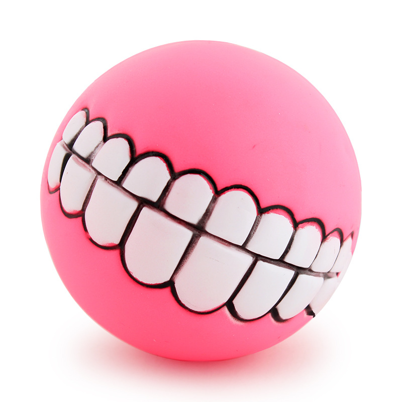 Funny Pets Dog Puppy Cat Ball Teeth Toy PVC Chew Sound Dogs Play Fetching Squeak Toys Pet Supplies 5